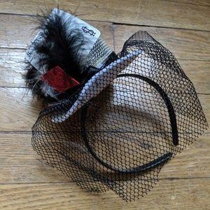 White red mesh cards Headband Halloween